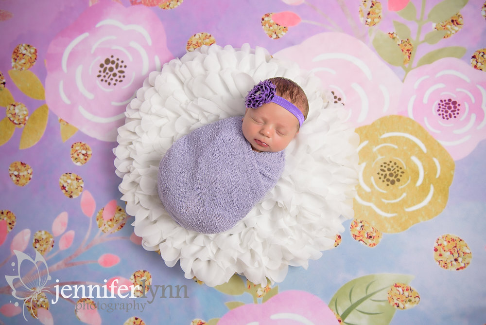 Newborn Girl Flowers Purple Wrap