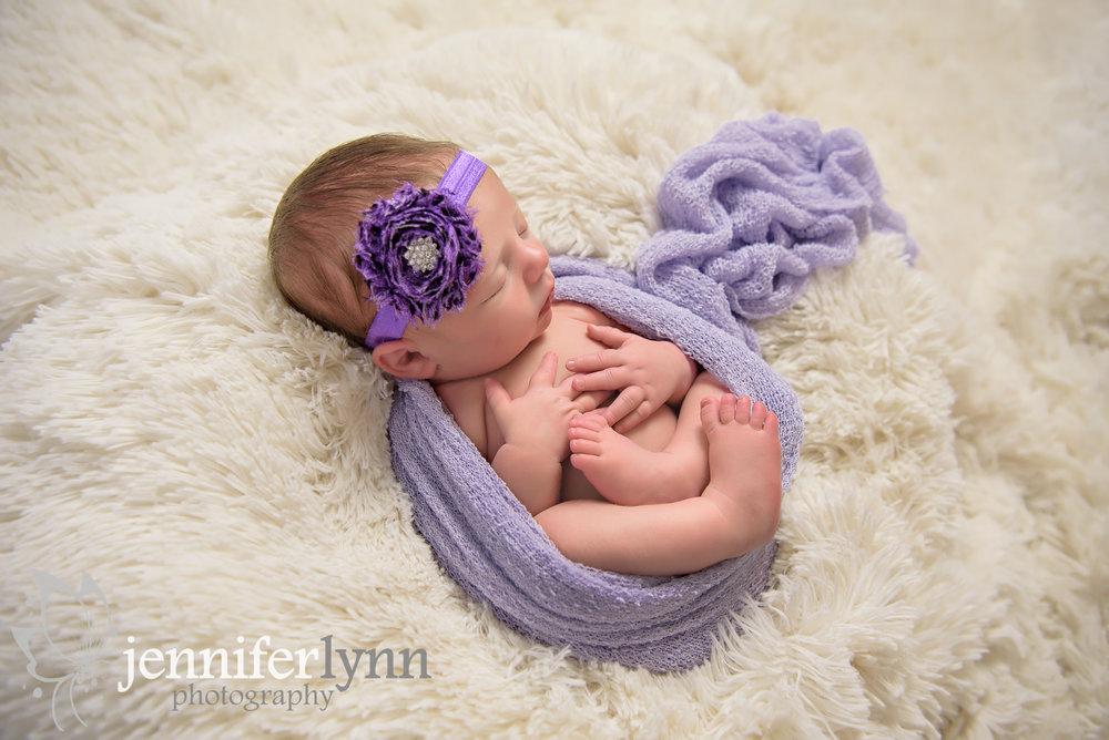 Newborn Girl Purple Circle Wrap White Fur