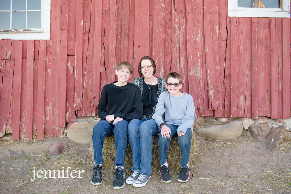 Mom and Two Sons Red Barn
