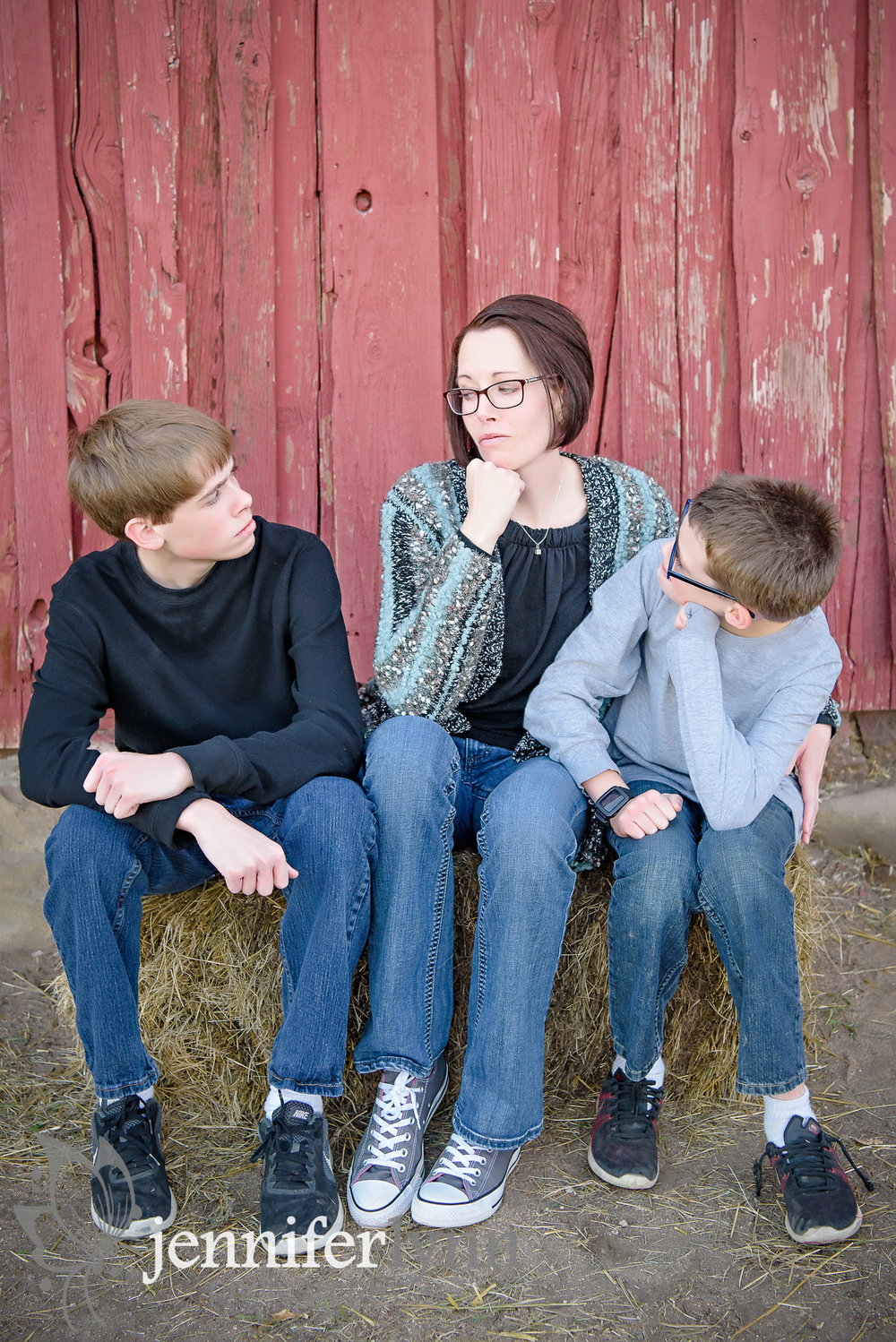 Goofy Mom and Sons on Hay Bale Barn