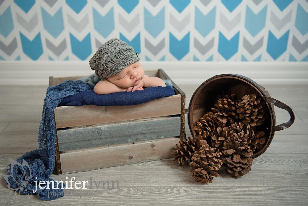 Newborn Boy Chin On Hands Crate Pinecones