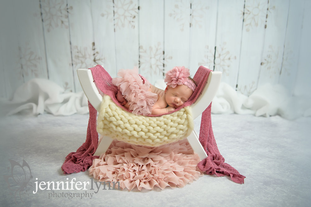 Newborn Girl White Bench Blush Pinks