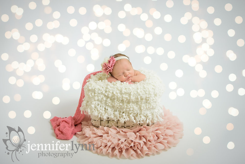 Newborn Gril Basket Pink Ruffles Lights
