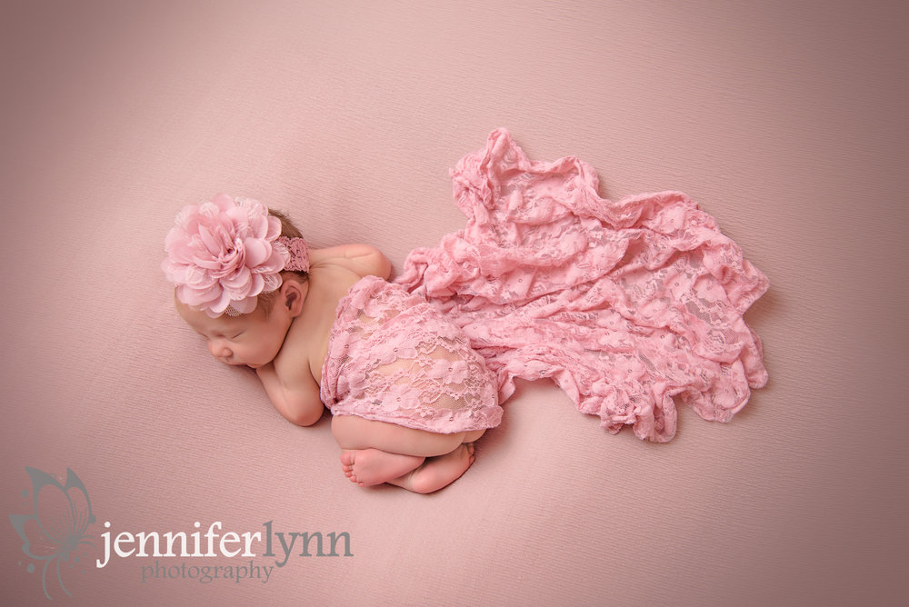 Newborn Girl Pink Lace Blush Fabric