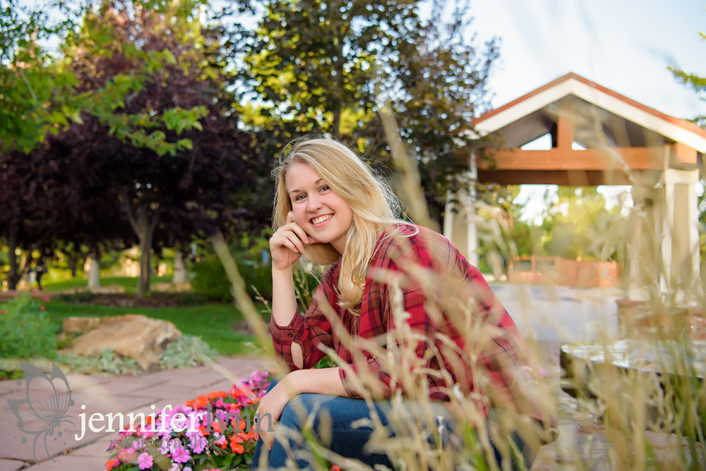 Senior Girl Fall Grass Bokeh Casual