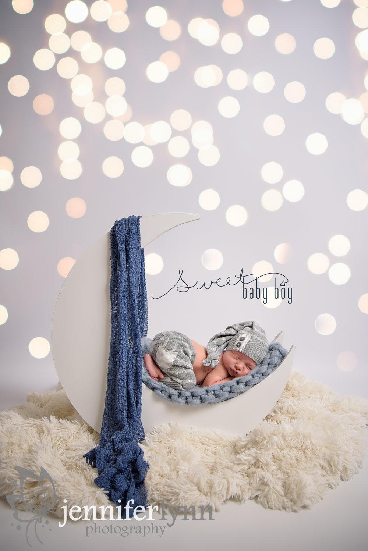 Newborn Boy Moon Prop Blue Lights