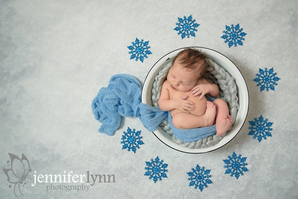 Newborn Boy Vintage Bowl Snowflakes