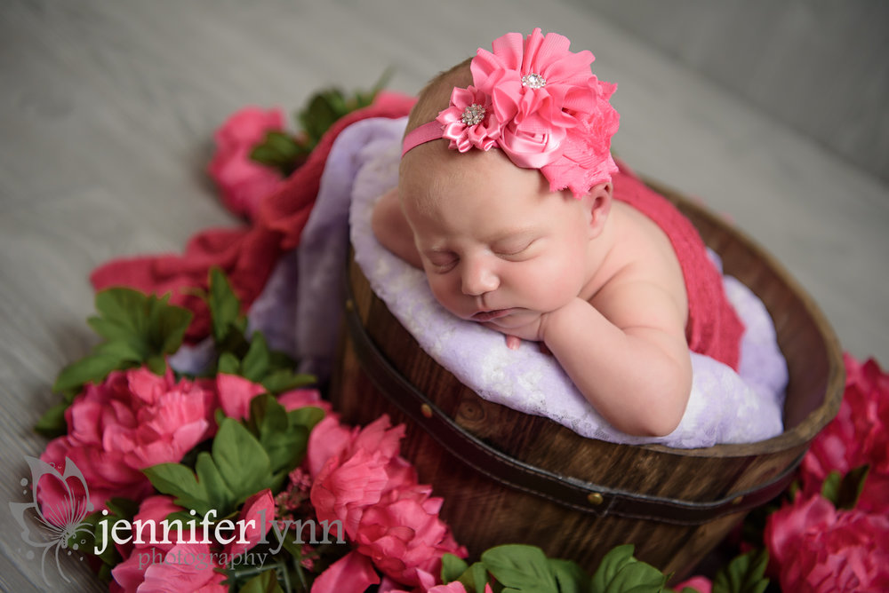 Newborn Girl Wooden Basket Pink Flowers