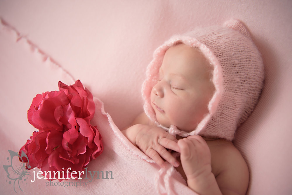 Newborn Girl Pink Sleeping Bonnet Flowers