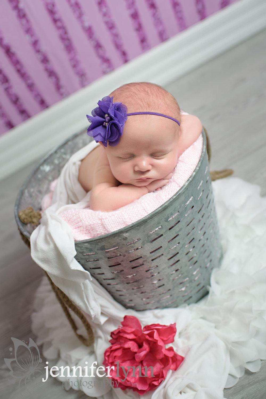 Newborn Girl Bucket Pink Purple Flower