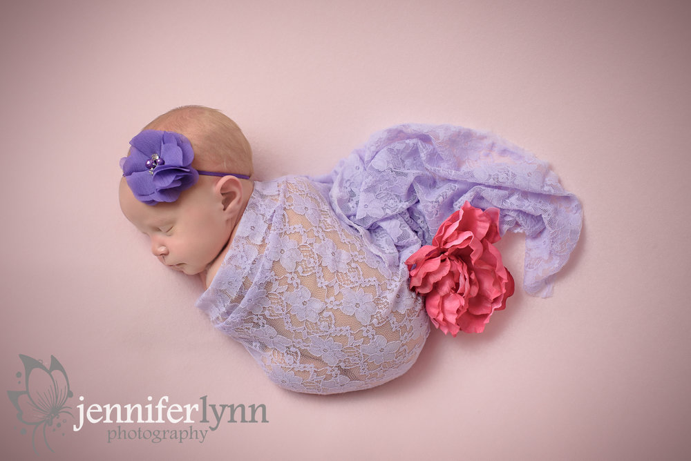 Newborn Girl Purple Lace Wrap Pink Blanket