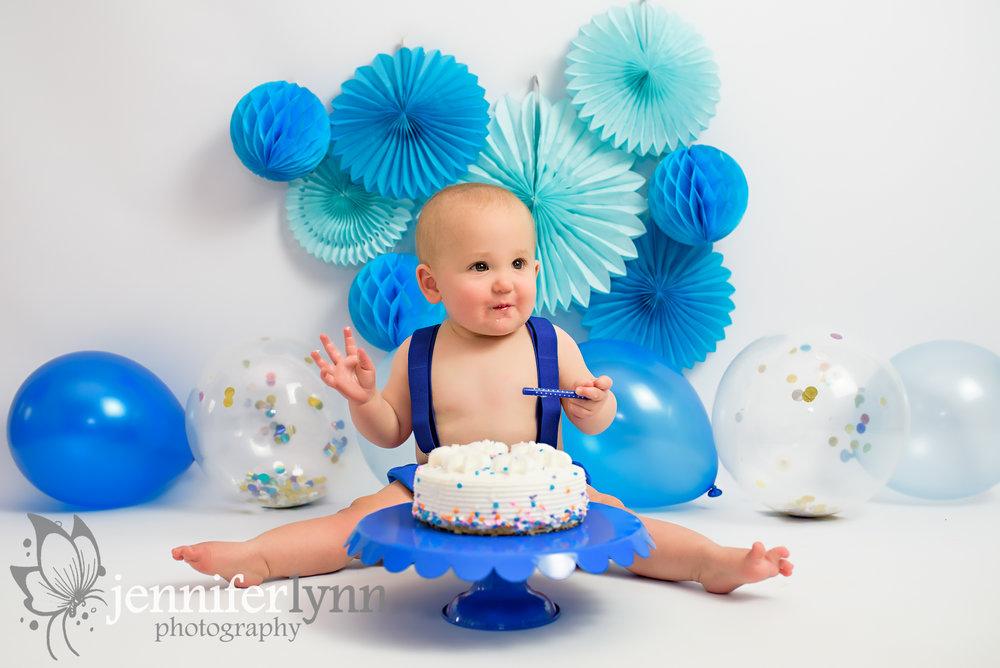 Happy Baby Eating Cake