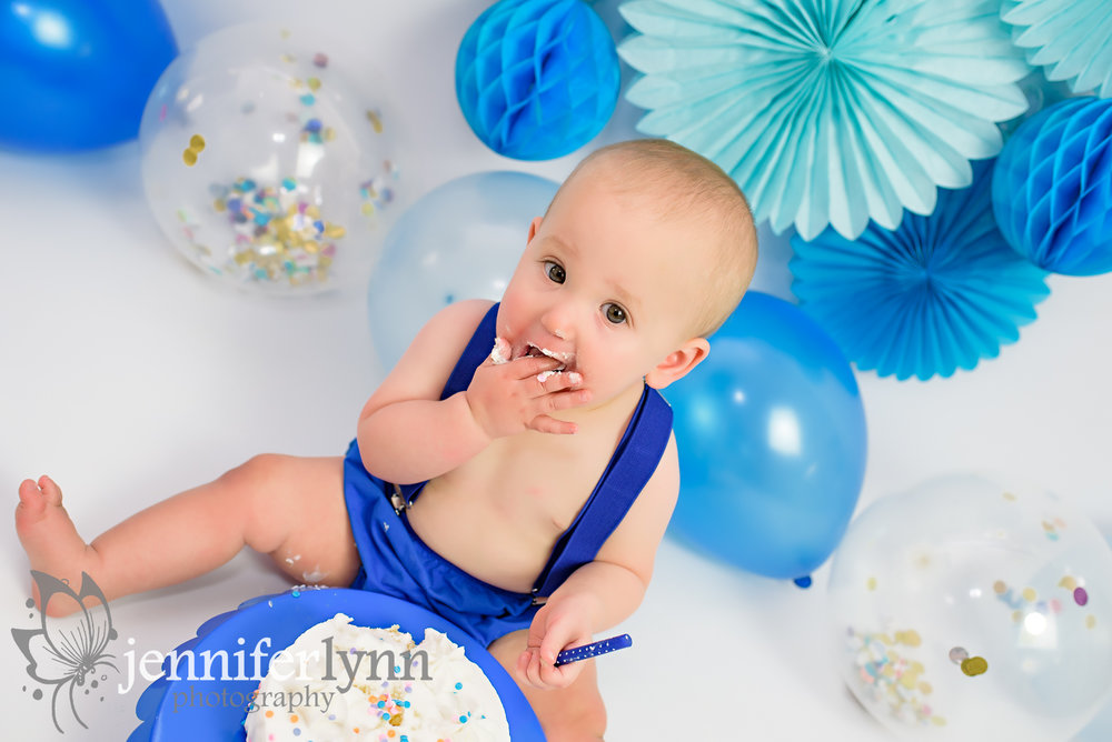 Overhead View of Baby Eating Cake