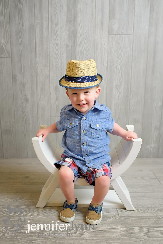 Two Year Old Boy Denium Shirt Straw Hat