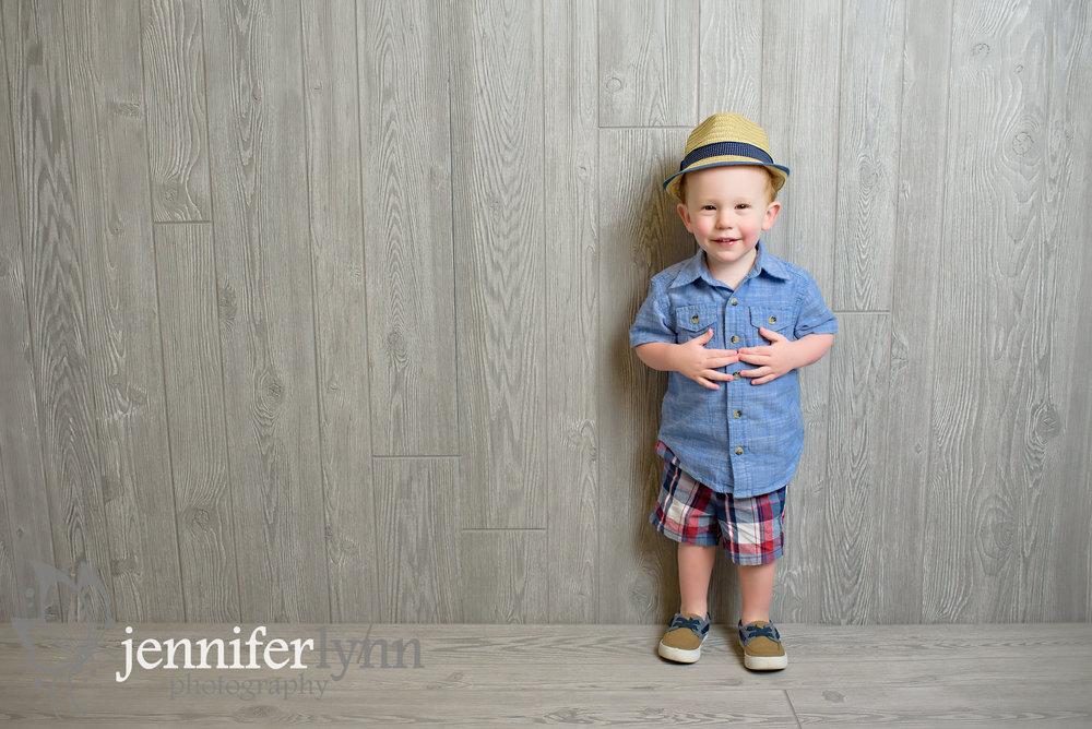 Toddler Boy Denium Shirt Grey Wood Background