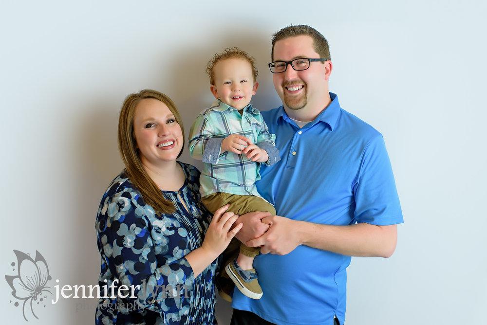 Family of Three Photo Blue Theme White Background