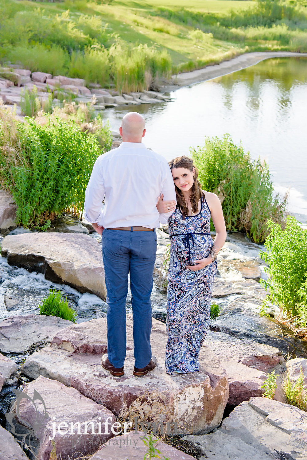 Maternity Husband and Wife Outdoors Boulders Summer