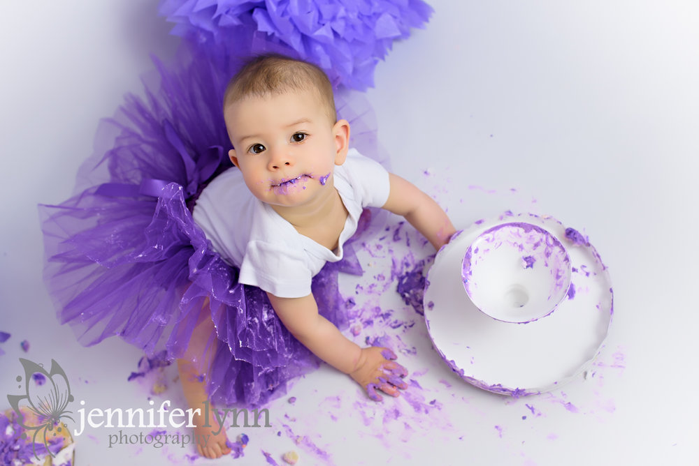 Overhead View Baby Purple Cake Smash