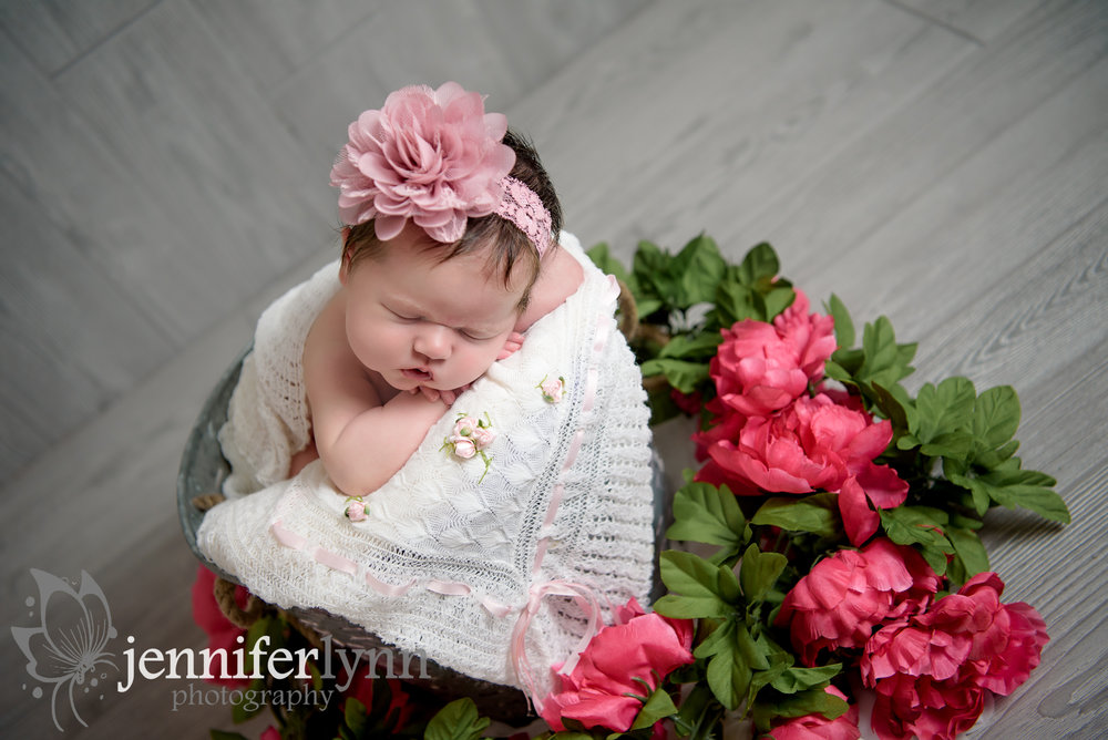 Newborn girl pink flowers bucket