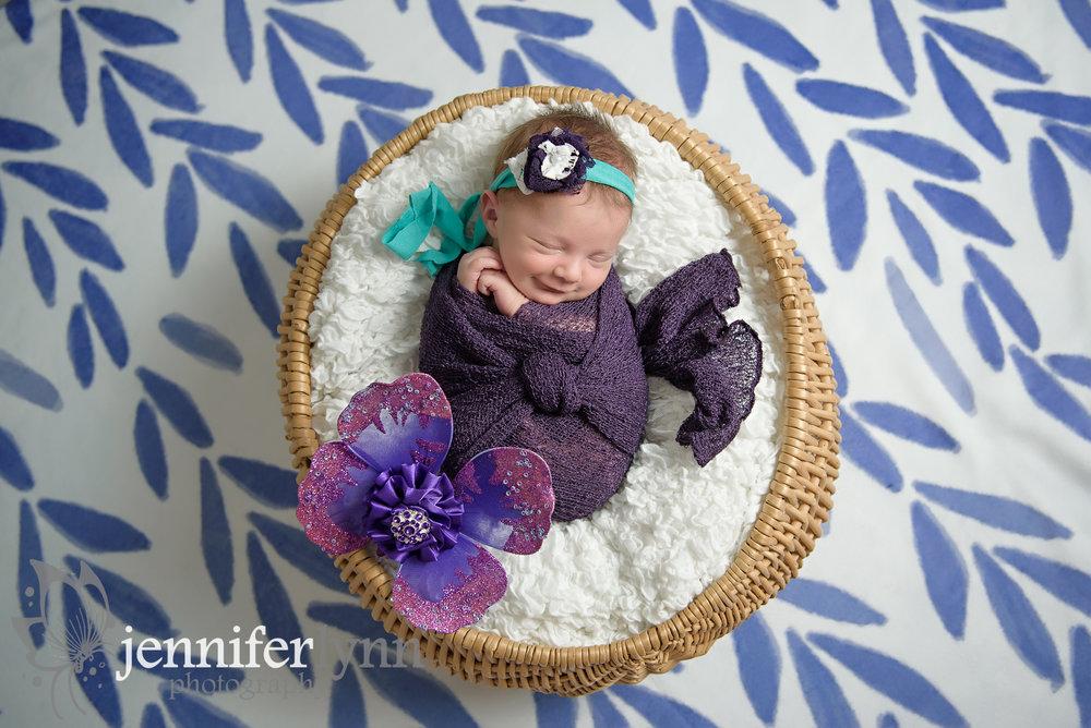 Newborn Girl Smile Purple Butterfly