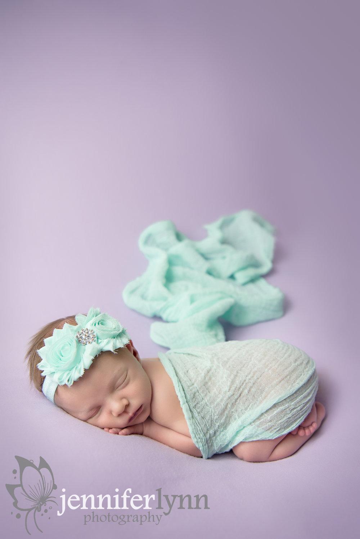 Newborn Girl Mint Fabric Purple Blanket