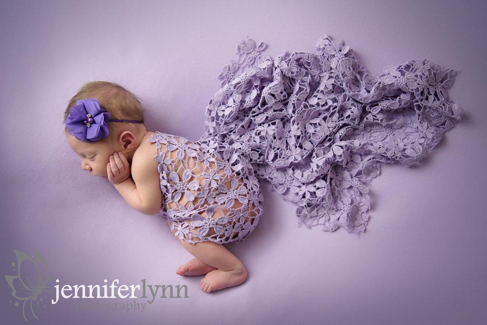 Newborn Girl Purple Floral Lace
