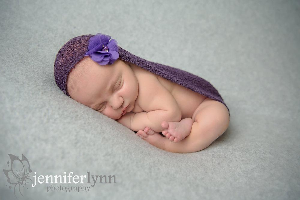 Newborn Girl Purple and Grey Wrap