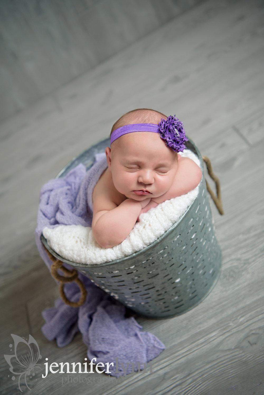 Newborn Girl Silver Bucket Purple Accents