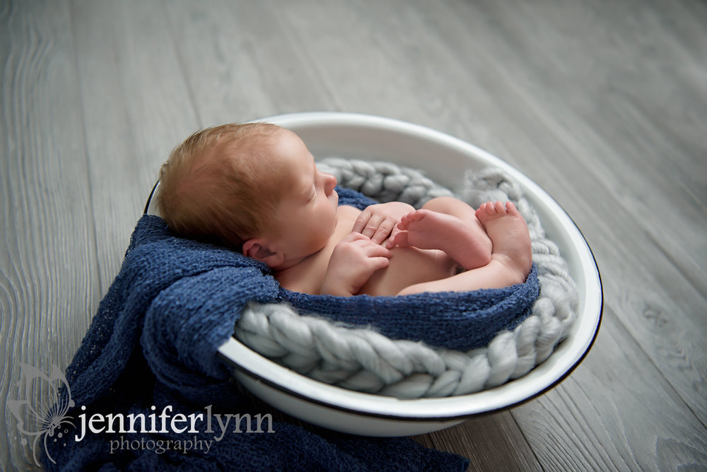Newborn Boy Antique Bowl Denium Wrap
