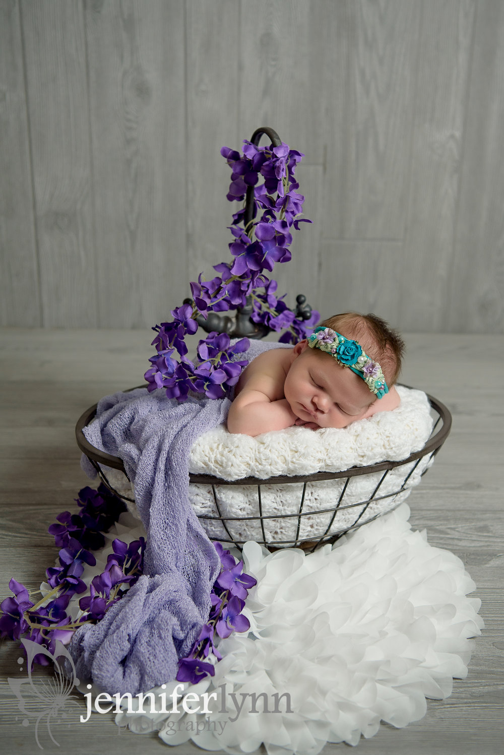 Newborn Girl Sink Prop Purple and Flowers