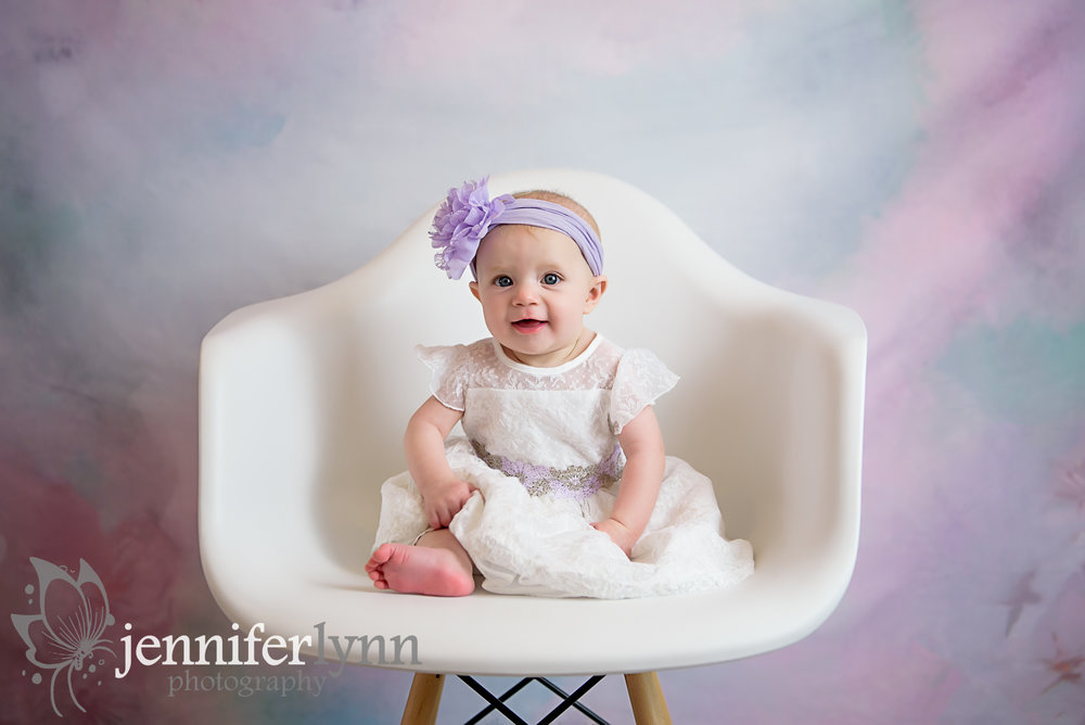 Baby Girl White Chair Floral Background