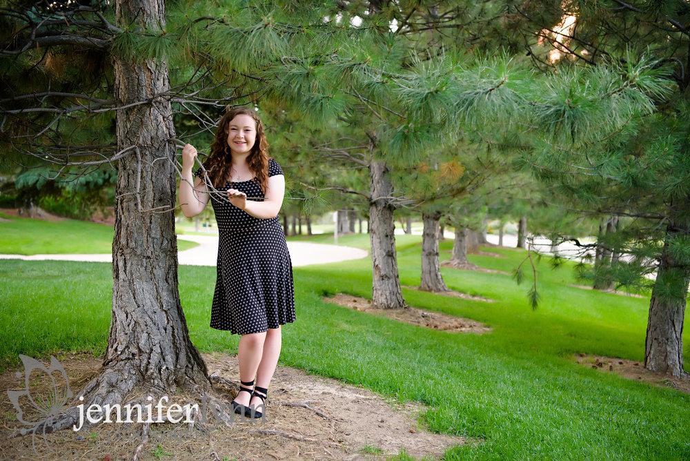 Senior Girl Trees in a Line