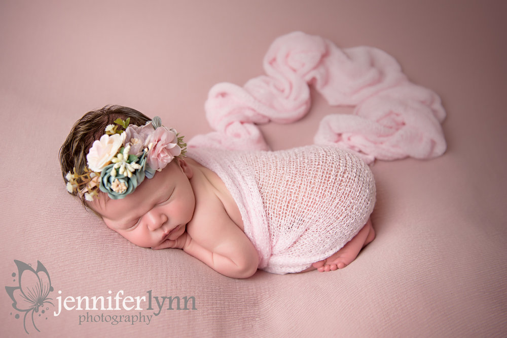Newborn Girl Pink Fabric and Flowers