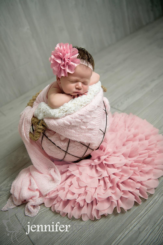 Newborn Girl Pink and Grey Bucket