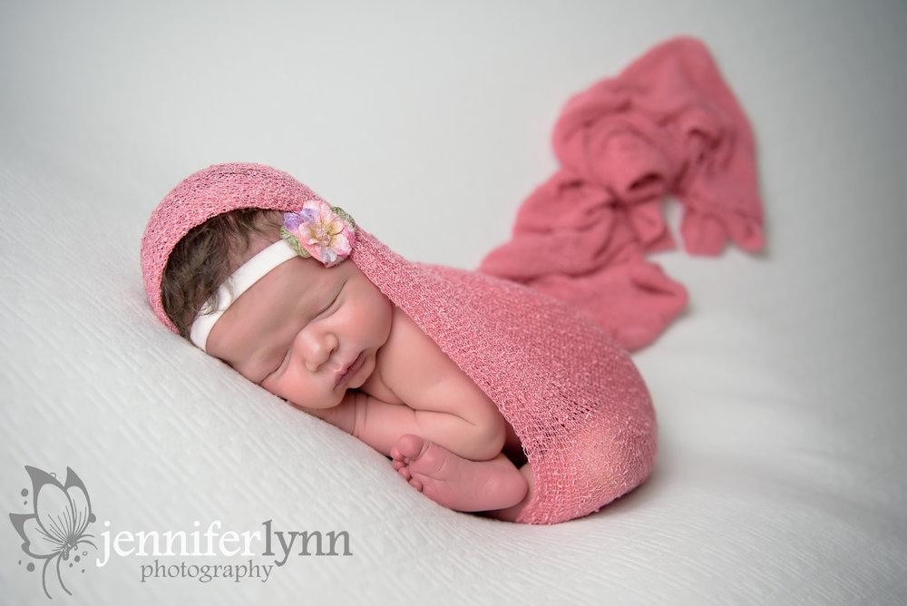 Newborn Girl Blush Pink Taco Pose