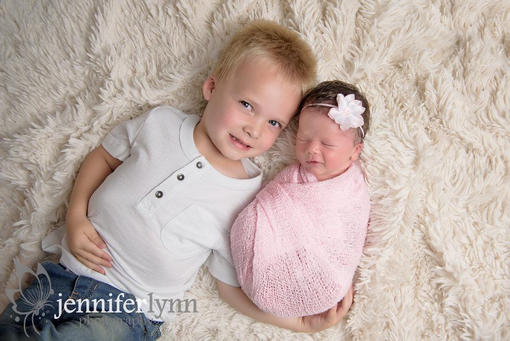 Newborn Sibling Photo White Fur