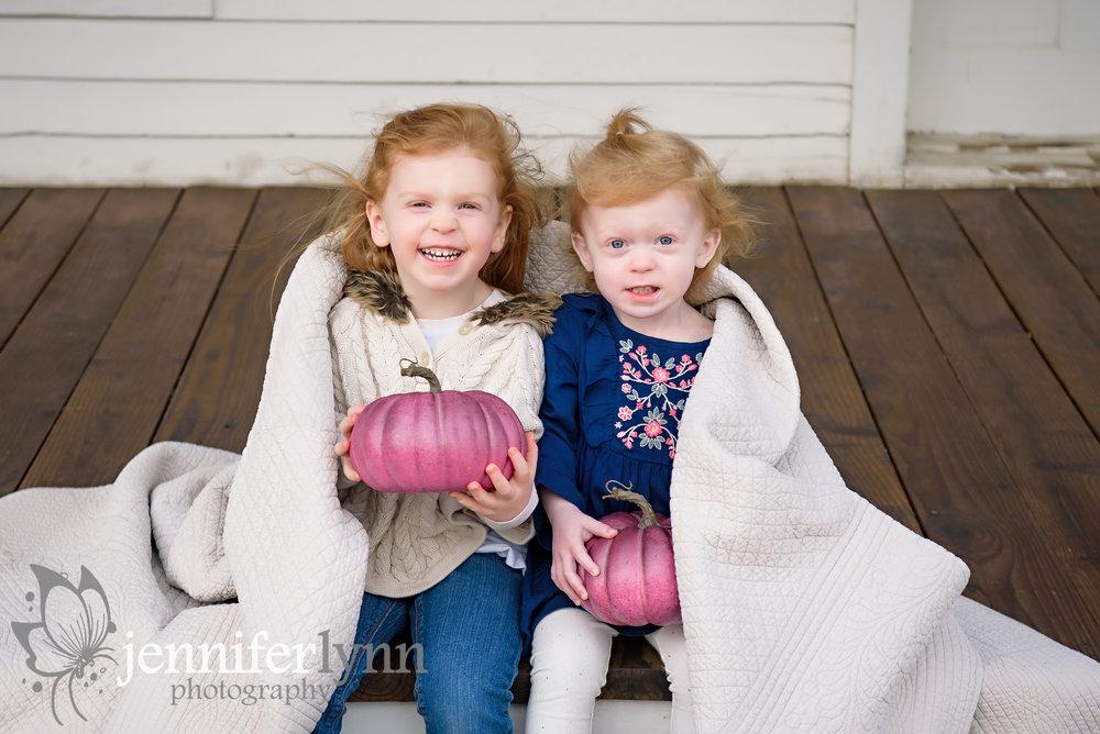 Sisters Outside Blanket Fall Pumpkin Purple