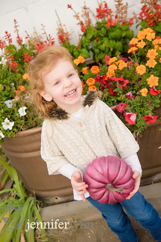 Fall Girl Autumn Flowers Pumpkin