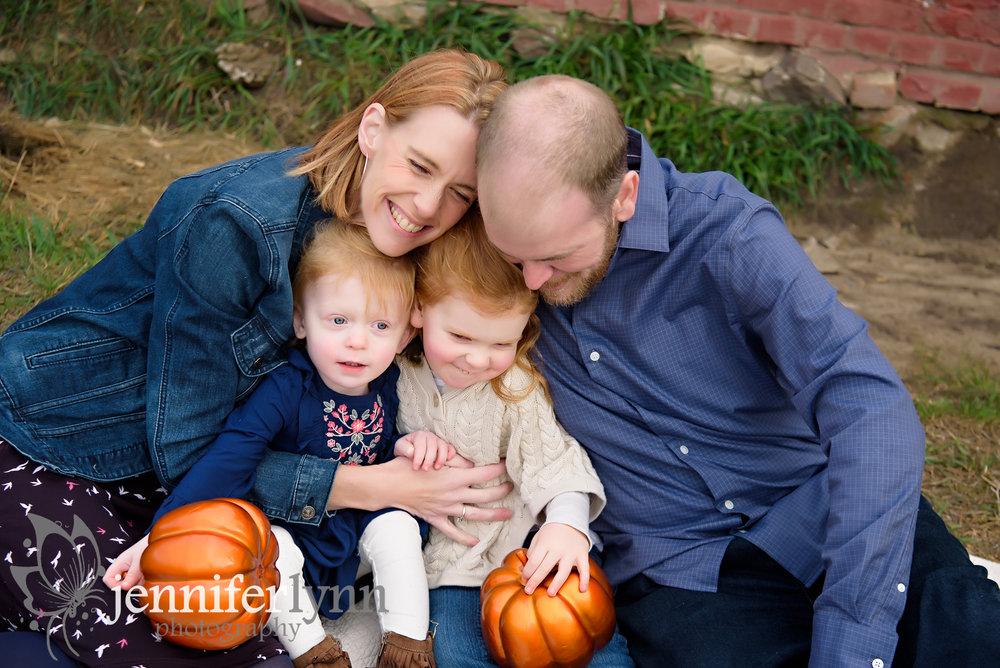 Fall Family Hug Outside