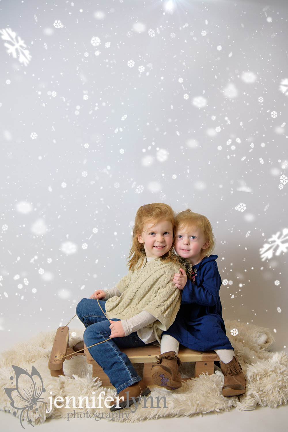Sisters Winter Photo Sled Snowflakes