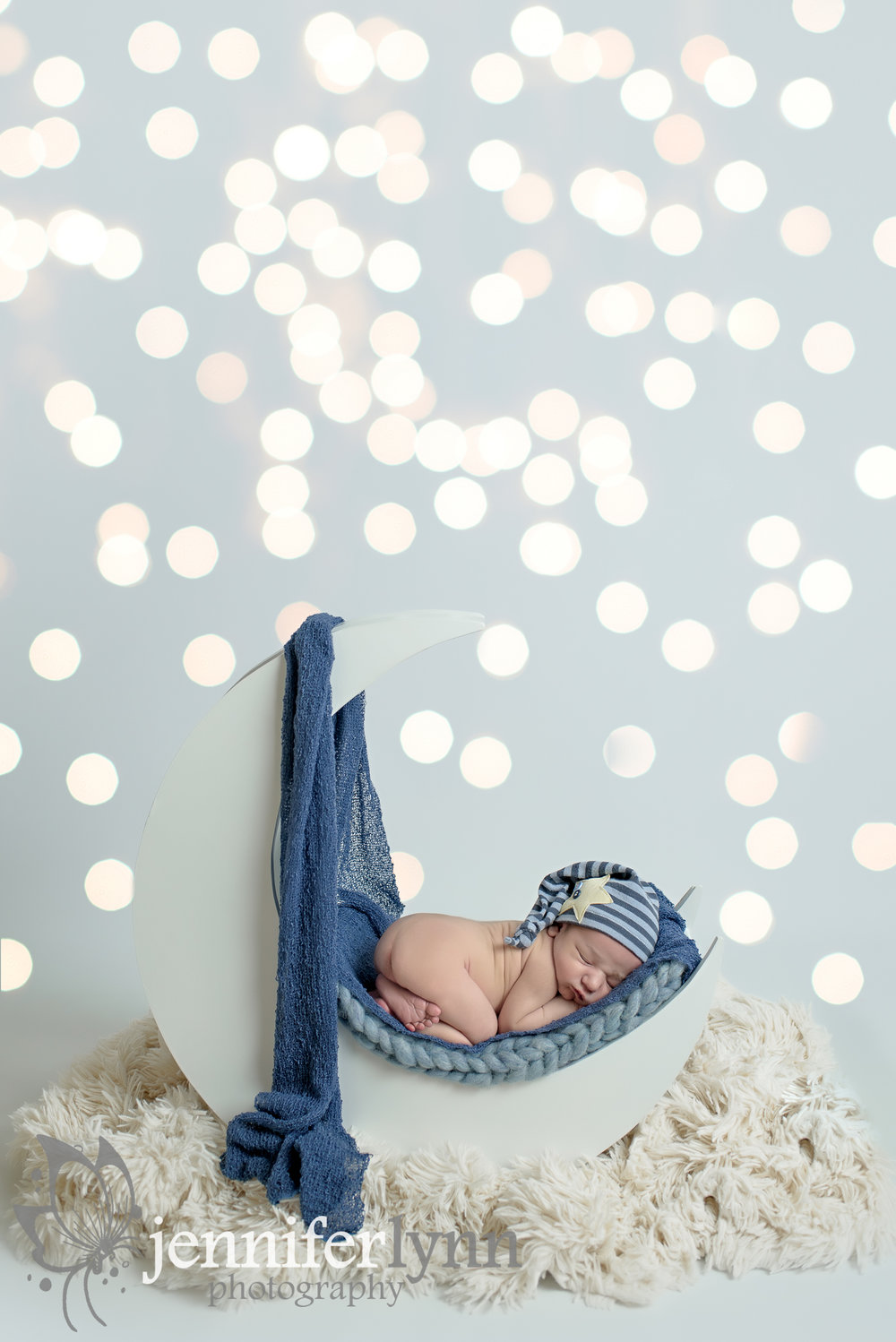 Newborn Boy Moon Prop Blue Star Cap