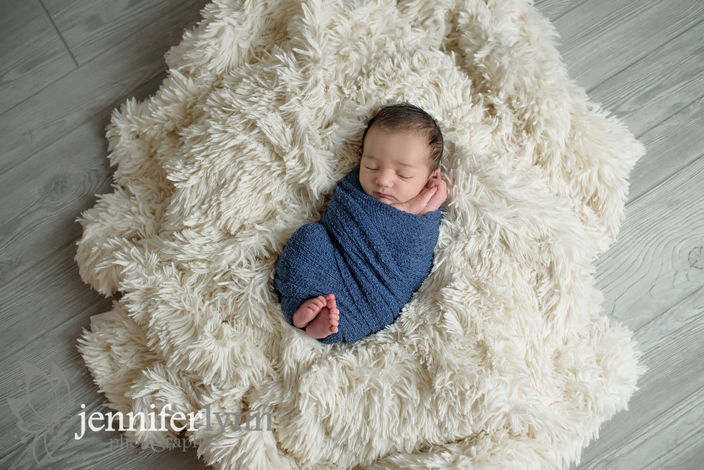 Newborn Boy Soft White Fur Denim Wrap