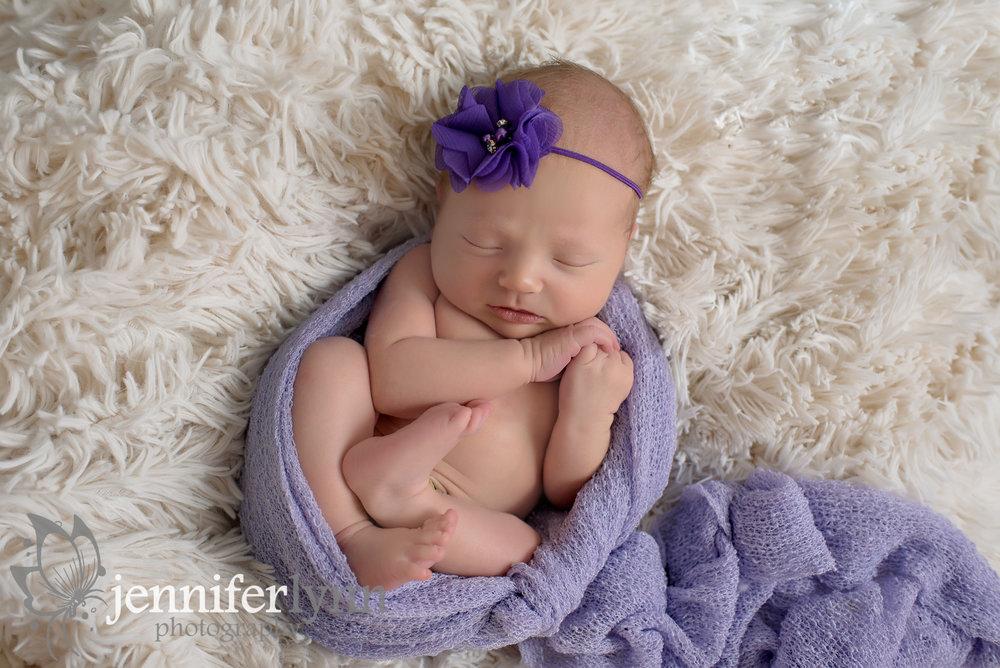 Newborn Girl Fur Purple Wrap