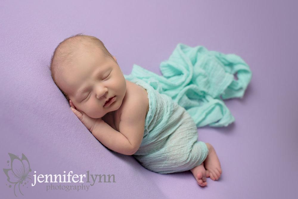 Newborn Girl Side Lay Mint Fabric Purple Blanket