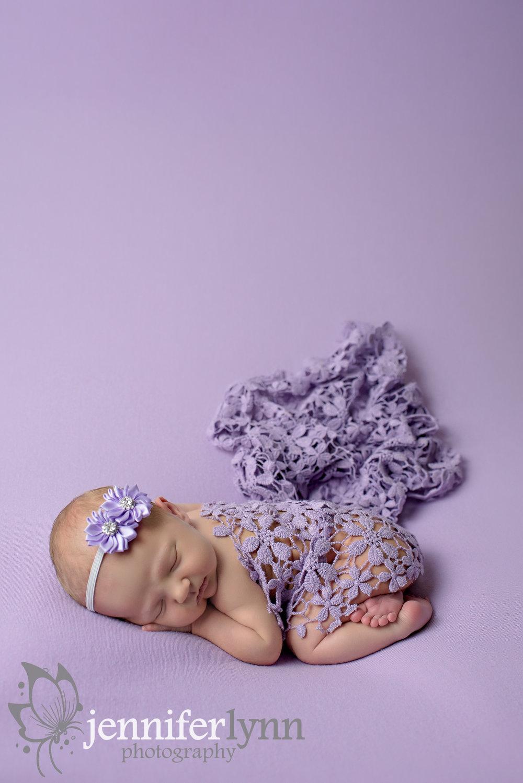 Newborn Girl Purple Blanket Floral Lace