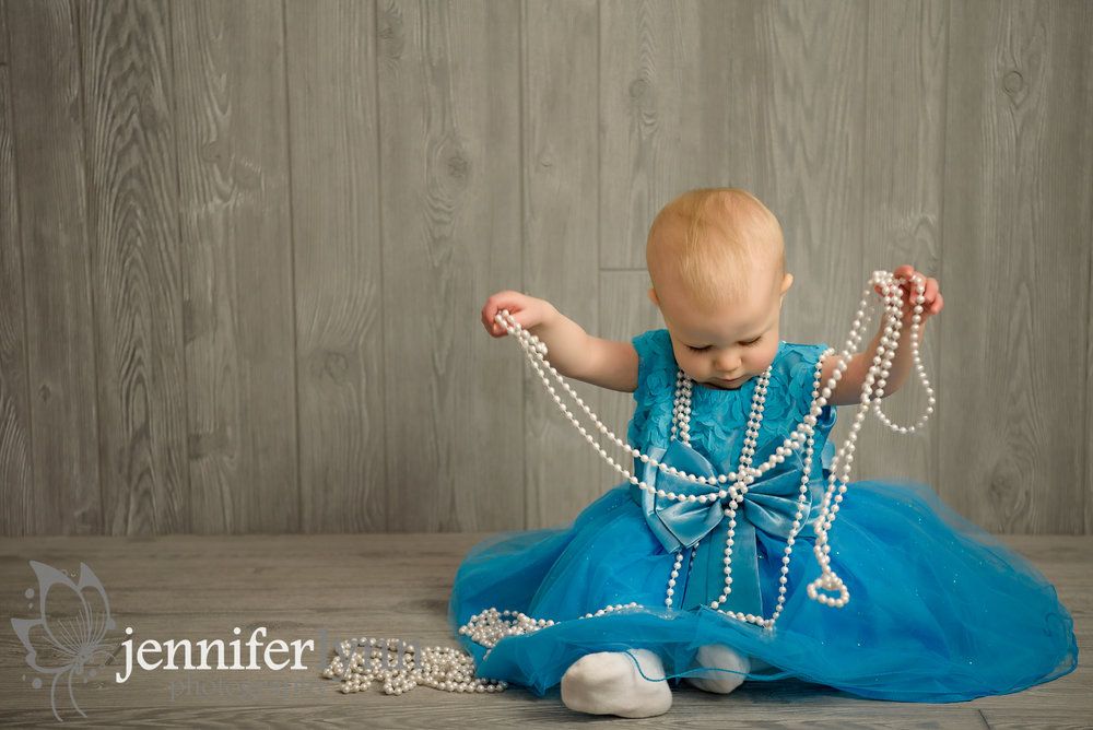 Baby Girl Blue Dress Pearls