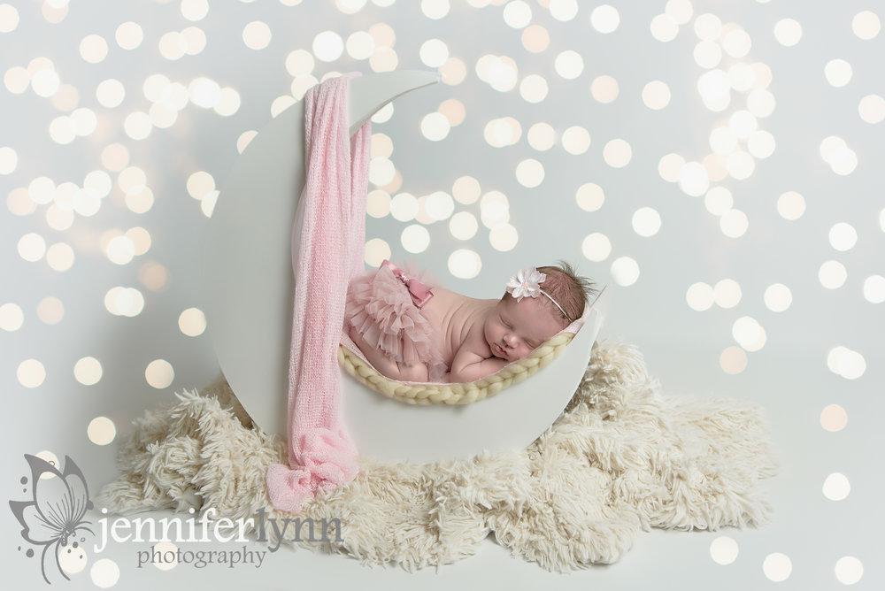 Newborn Girl Pink Moon Prop