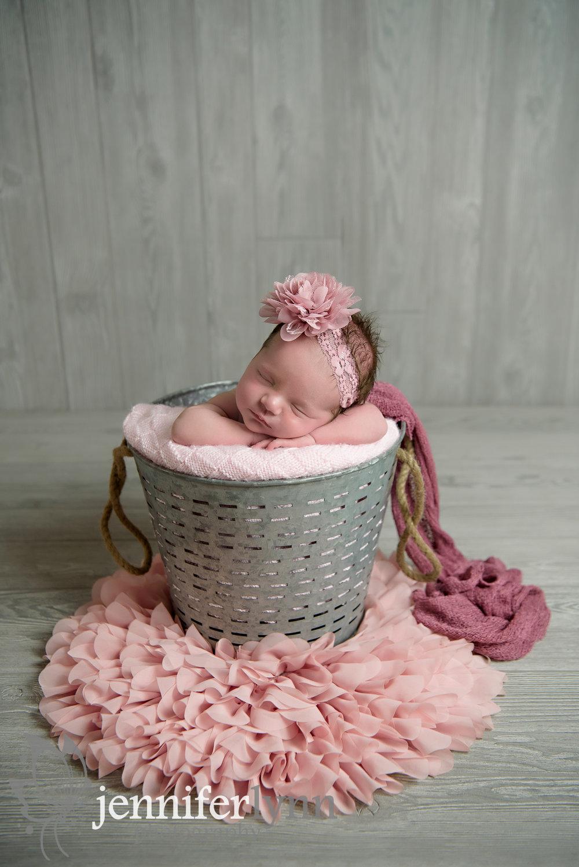 Newborn Girl Silver Bucket Pink Accents