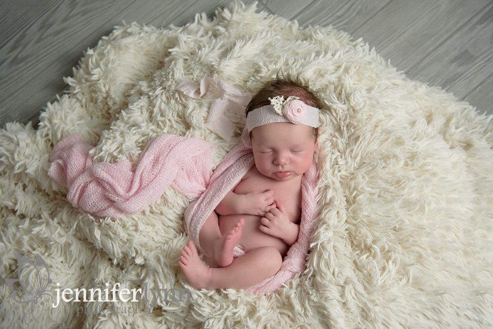 Newborn Girl Cream Fur Pink Wrap