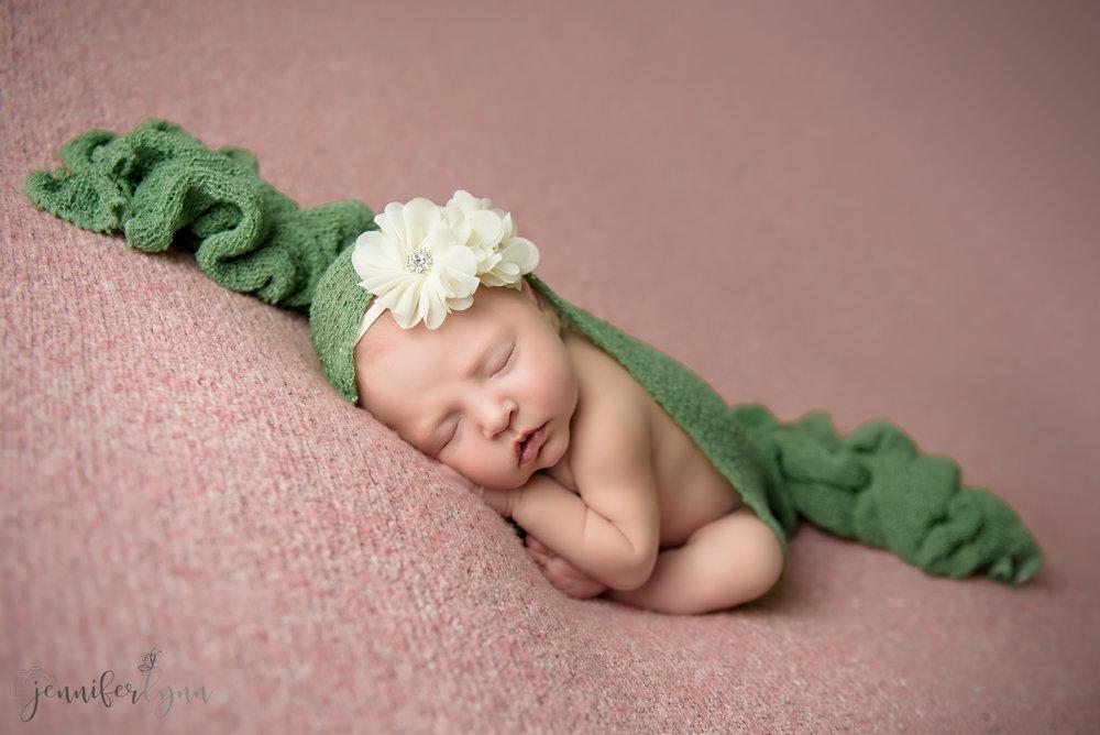 Newborn Girl Pink Blanket, Green Wrap